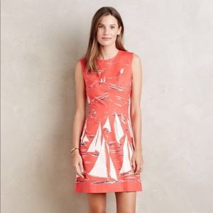 Anthropologie Maeve Sailboat Dress, Red, US 2